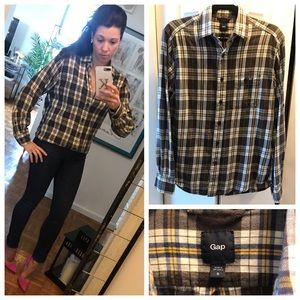 Gap Plaid Flannel Bttn Down (Grey Yellow White)